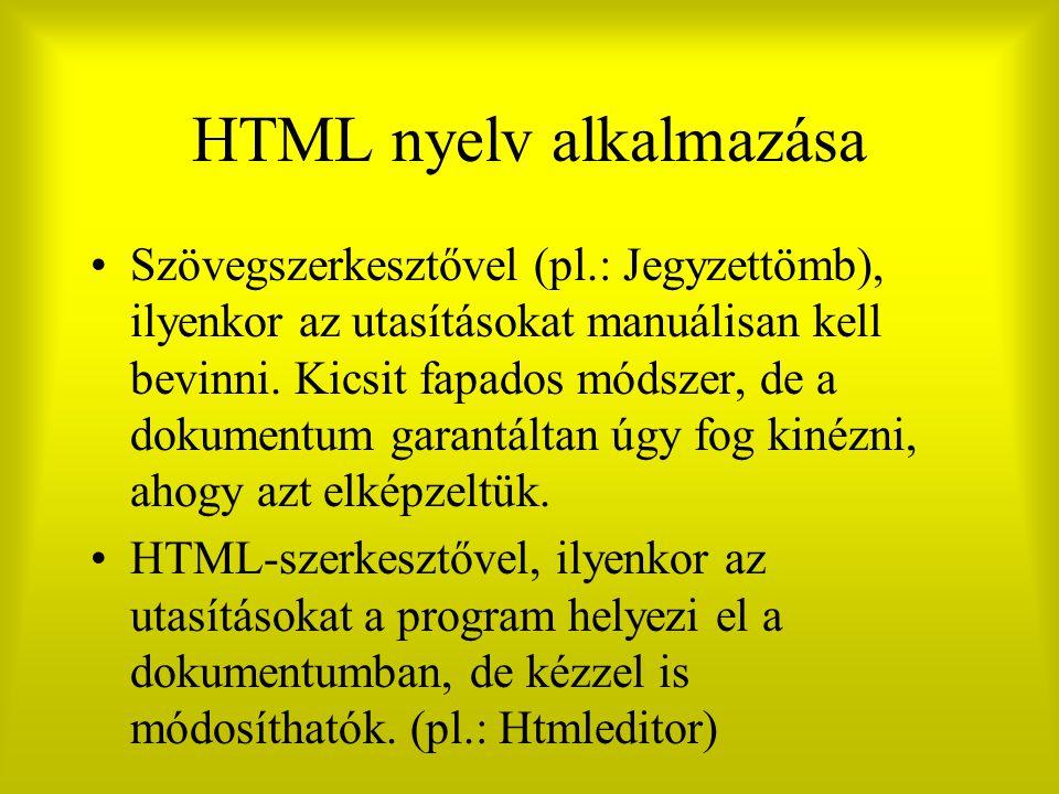 HTML nyelv alkalmazása