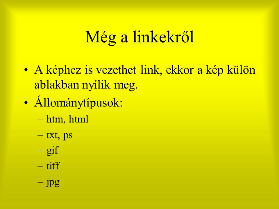 Még a linkekről A képhez is vezethet link, ekkor a kép külön ablakban nyílik meg. Állománytípusok: