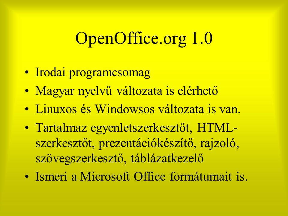 OpenOffice.org 1.0 Irodai programcsomag