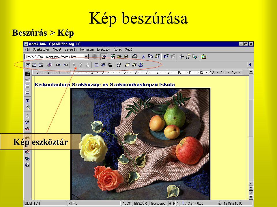 Kép beszúrása Beszúrás > Kép Kép eszköztár