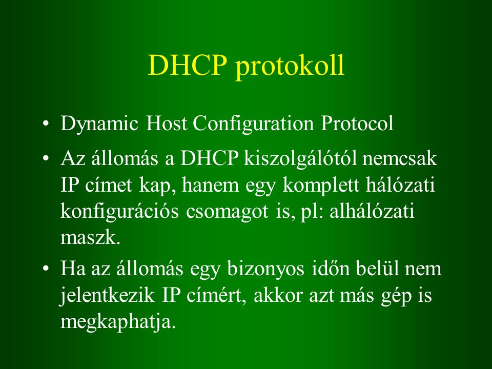 DHCP protokoll Dynamic Host Configuration Protocol