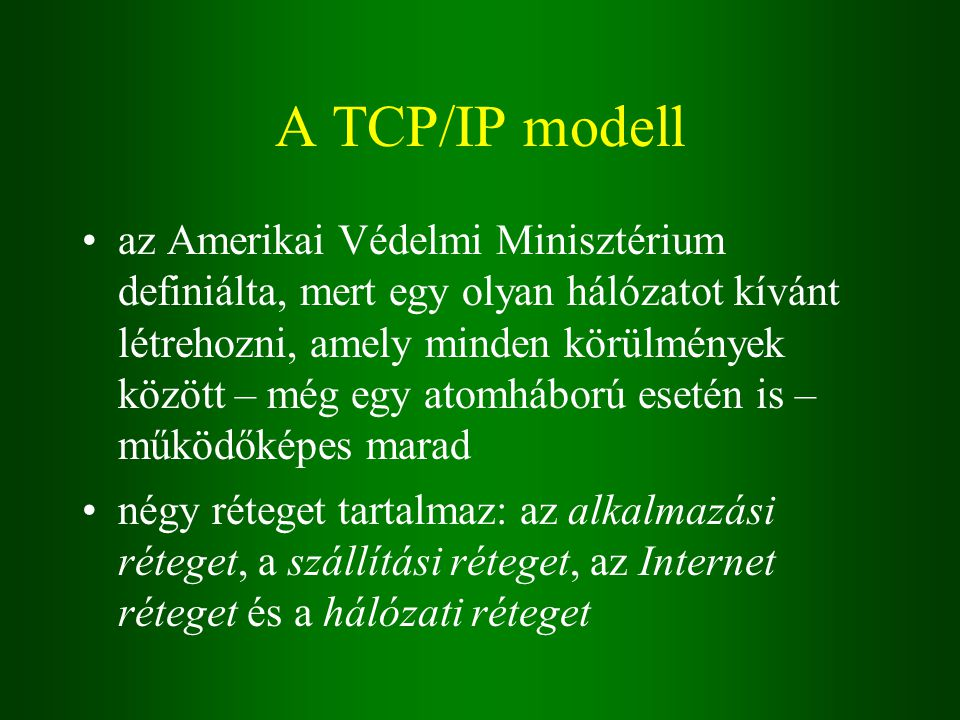 A TCP/IP modell