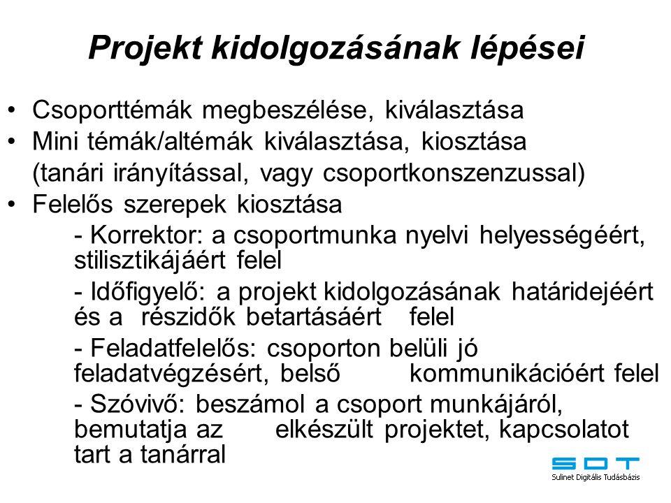 Projekt kidolgozásának lépései