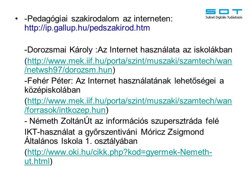 -Pedagógiai szakirodalom az interneten: http://ip. gallup