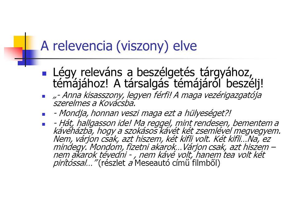 A relevencia (viszony) elve