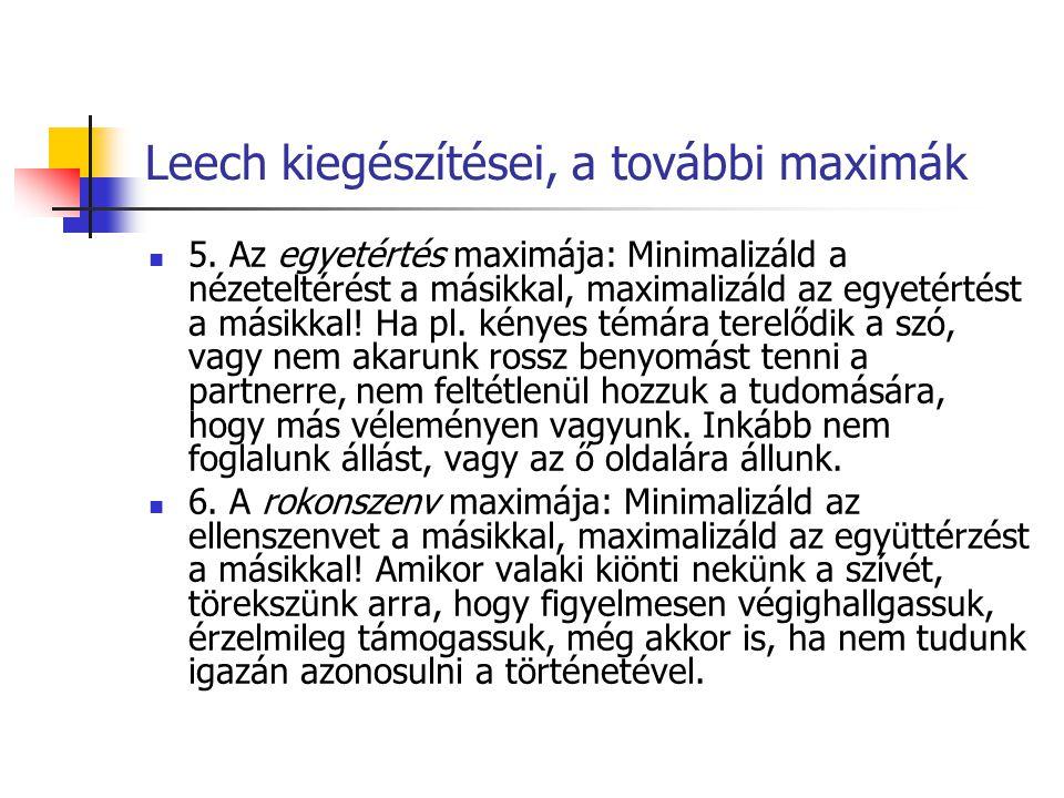 Leech kiegészítései, a további maximák