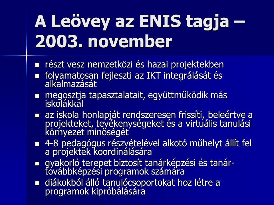 A Leövey az ENIS tagja – 2003. november