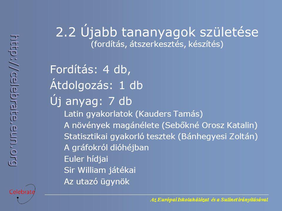 2.2 Újabb tananyagok születése (fordítás, átszerkesztés, készítés)