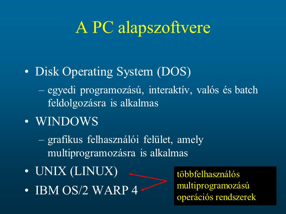 A PC alapszoftvere Disk Operating System (DOS) WINDOWS UNIX (LINUX)