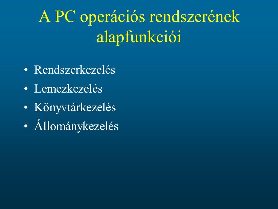 A PC operációs rendszerének alapfunkciói