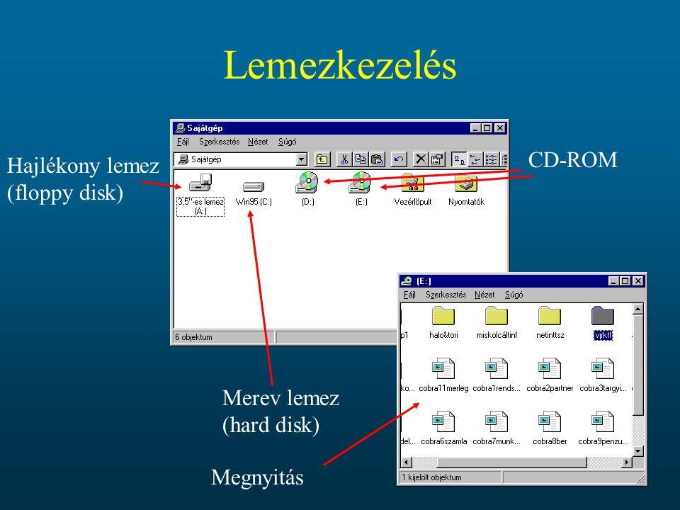 Lemezkezelés CD-ROM Hajlékony lemez (floppy disk)