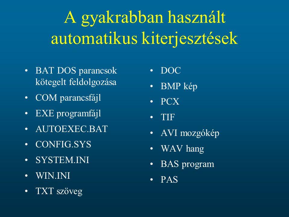 A gyakrabban használt automatikus kiterjesztések