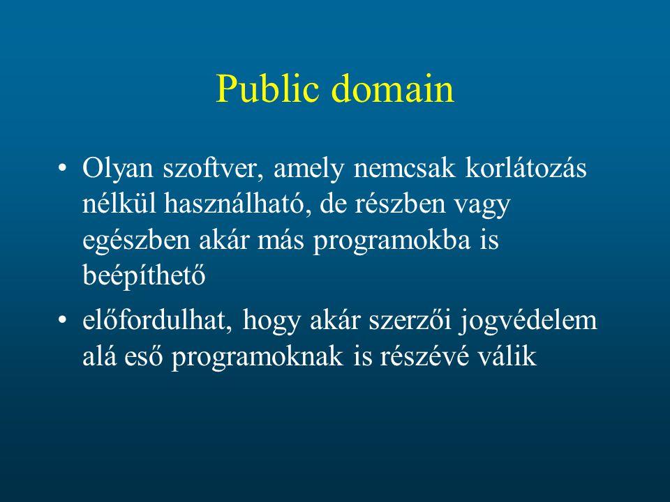 Public domain Olyan szoftver, amely nemcsak korlátozás nélkül használható, de részben vagy egészben akár más programokba is beépíthető.