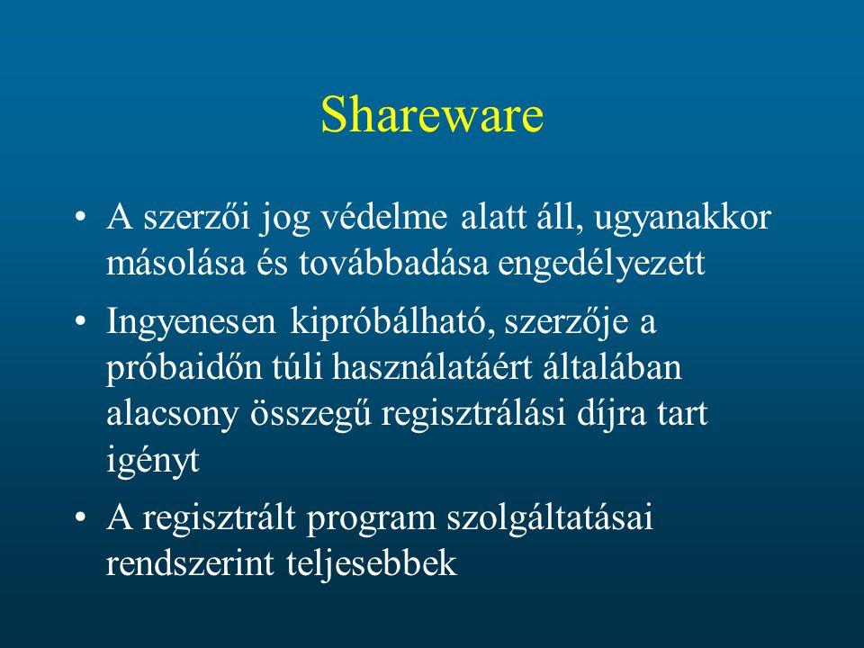 Shareware A szerzői jog védelme alatt áll, ugyanakkor másolása és továbbadása engedélyezett.