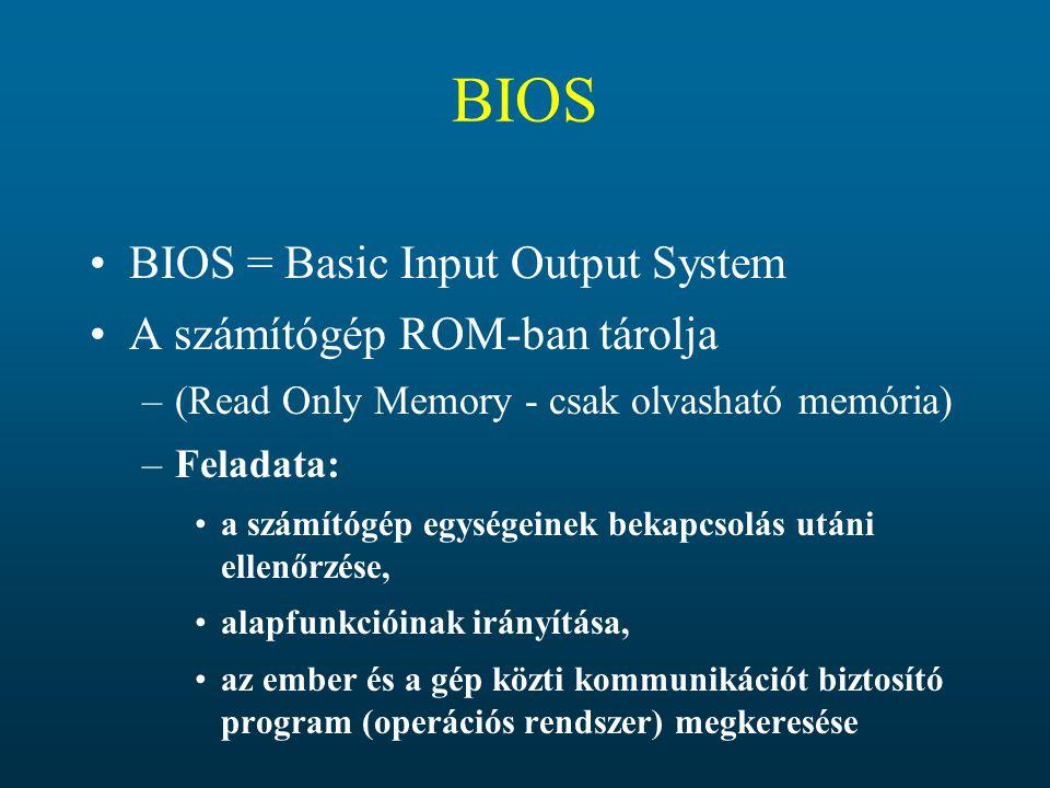 BIOS BIOS = Basic Input Output System A számítógép ROM-ban tárolja