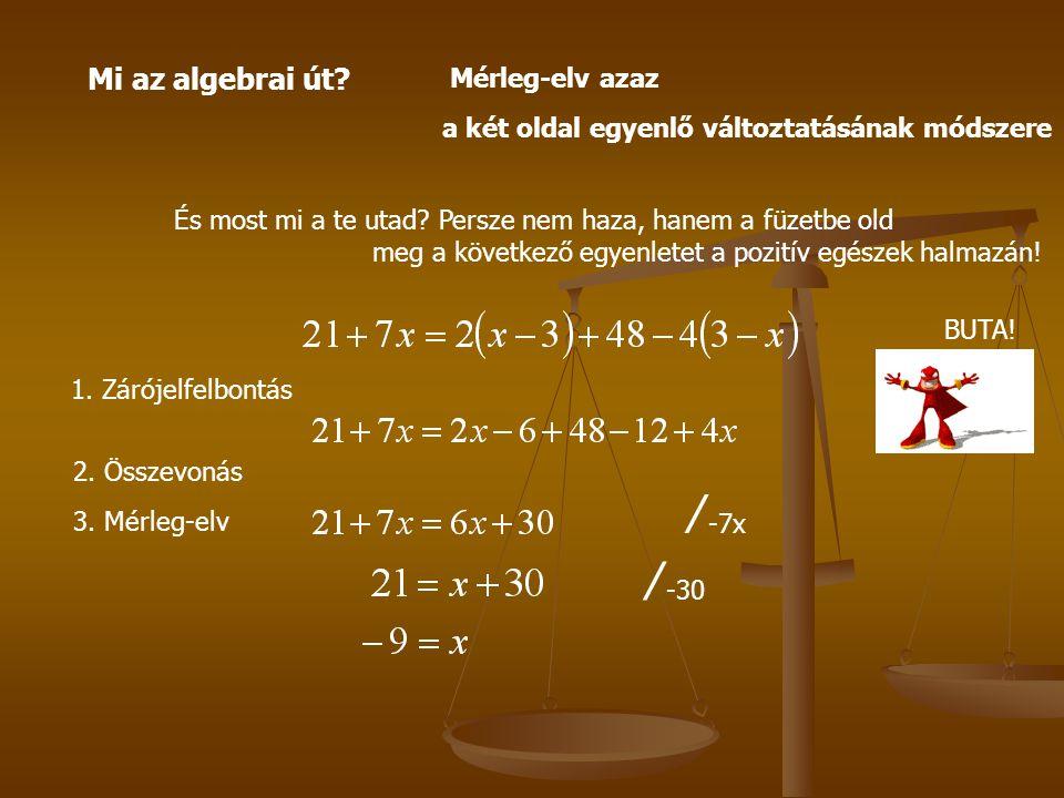 ∕-7x ∕-30 Mi az algebrai út Mérleg-elv azaz