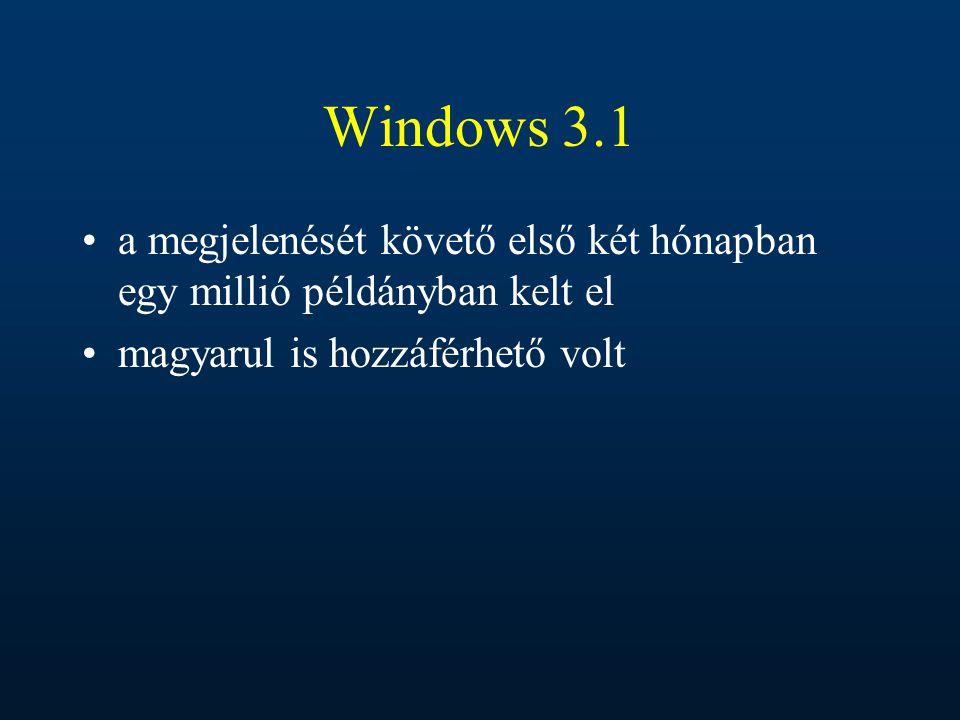 Windows 3.1 a megjelenését követő első két hónapban egy millió példányban kelt el.