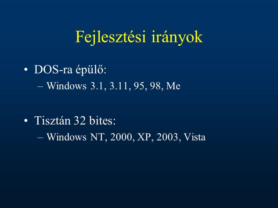 Fejlesztési irányok DOS-ra épülő: Tisztán 32 bites: