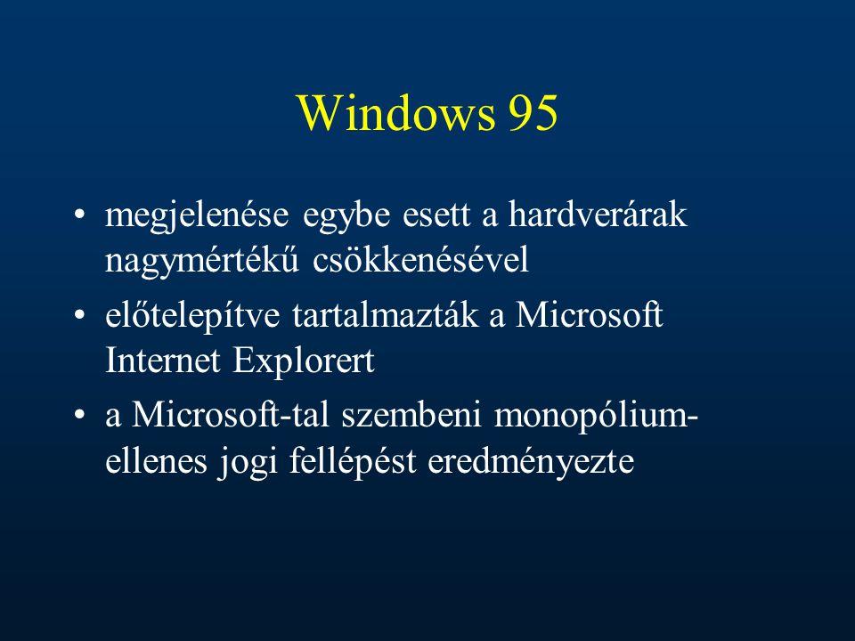 Windows 95 megjelenése egybe esett a hardverárak nagymértékű csökkenésével. előtelepítve tartalmazták a Microsoft Internet Explorert.