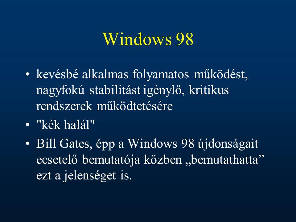 Windows 98 kevésbé alkalmas folyamatos működést, nagyfokú stabilitást igénylő, kritikus rendszerek működtetésére.