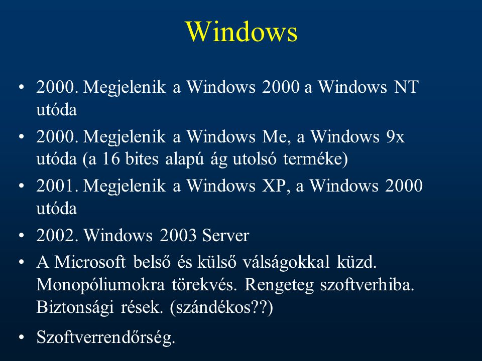 Windows 2000. Megjelenik a Windows 2000 a Windows NT utóda