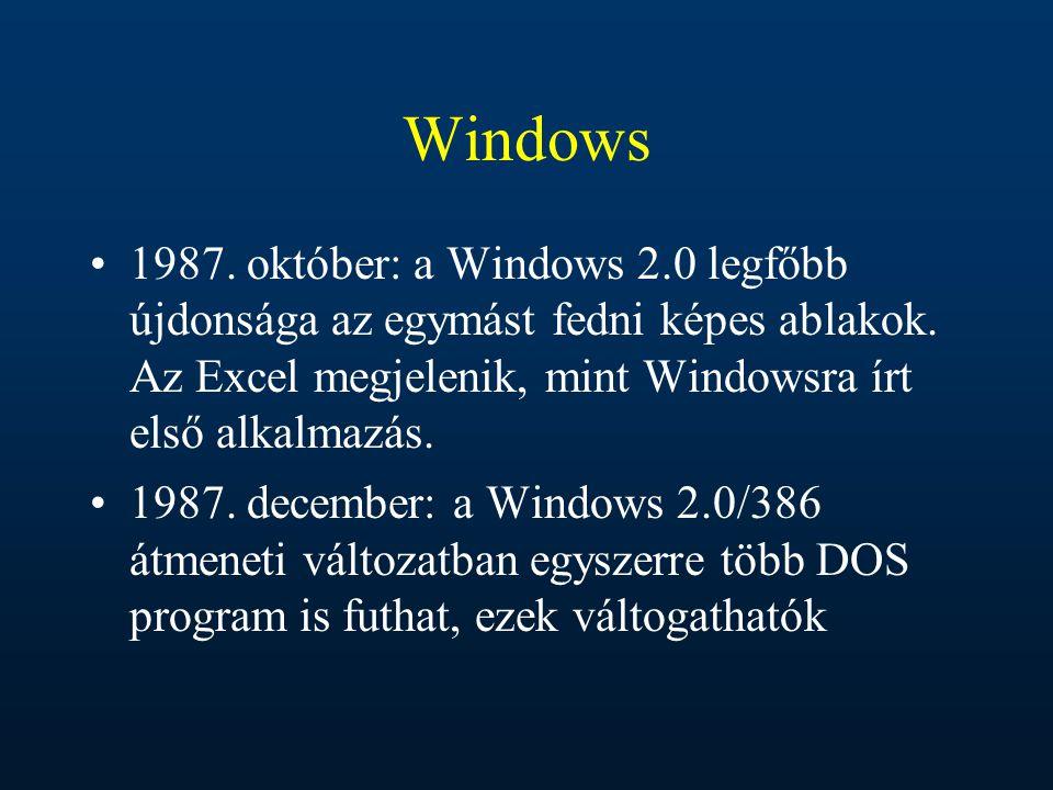 Windows 1987. október: a Windows 2.0 legfőbb újdonsága az egymást fedni képes ablakok. Az Excel megjelenik, mint Windowsra írt első alkalmazás.