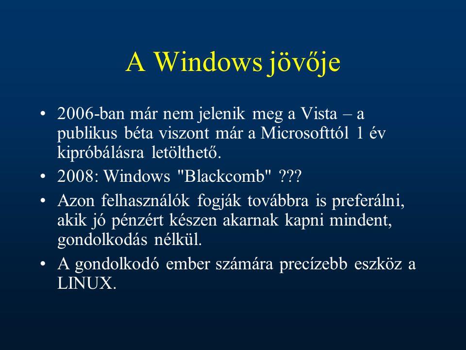 A Windows jövője 2006-ban már nem jelenik meg a Vista – a publikus béta viszont már a Microsofttól 1 év kipróbálásra letölthető.