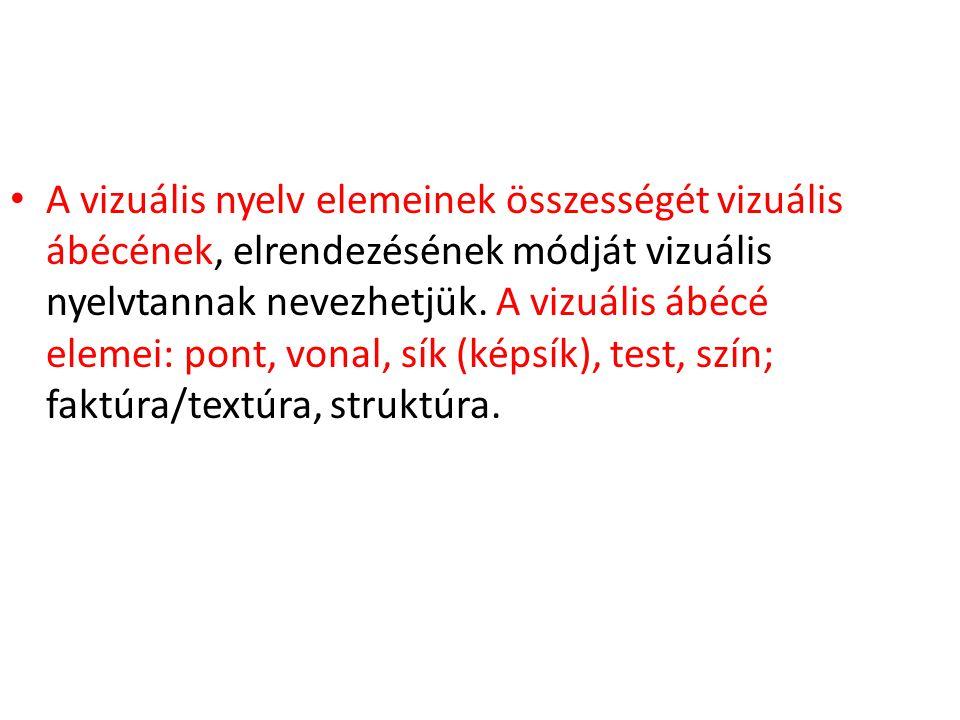 A vizuális nyelv elemeinek összességét vizuális ábécének, elrendezésének módját vizuális nyelvtannak nevezhetjük.
