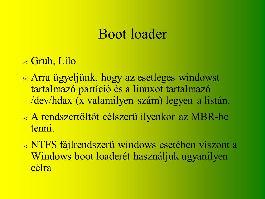 Boot loader Grub, Lilo.