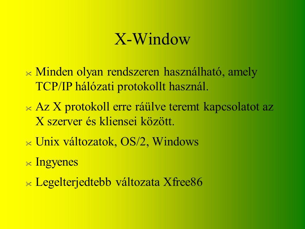 X-Window Minden olyan rendszeren használható, amely TCP/IP hálózati protokollt használ.