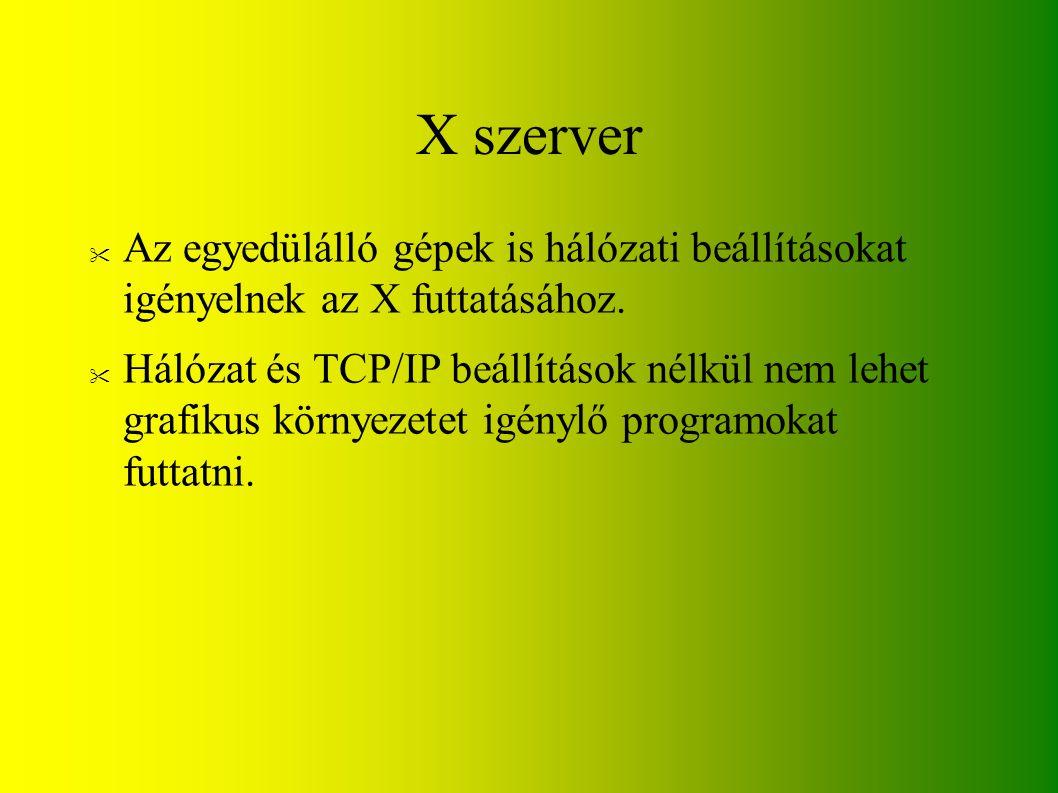 X szerver Az egyedülálló gépek is hálózati beállításokat igényelnek az X futtatásához.