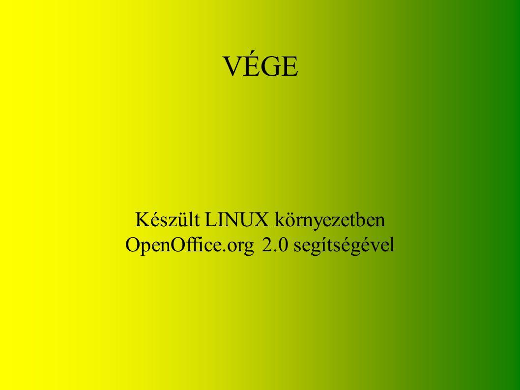 VÉGE Készült LINUX környezetben OpenOffice.org 2.0 segítségével