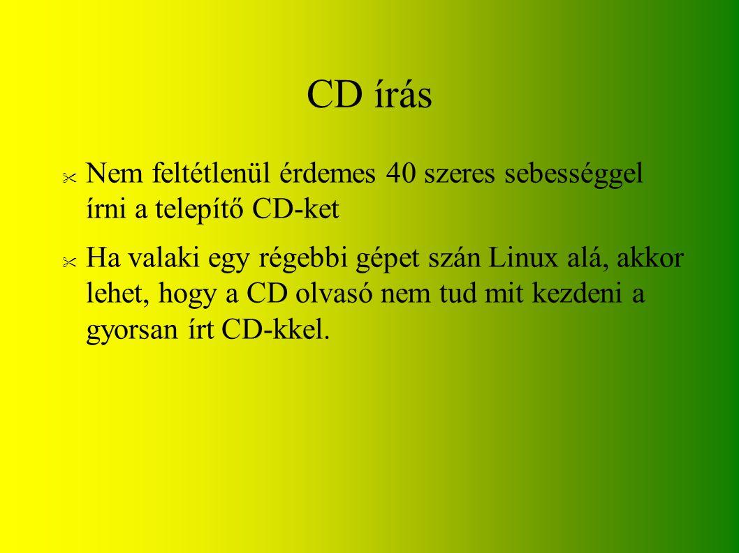 CD írás Nem feltétlenül érdemes 40 szeres sebességgel írni a telepítő CD-ket.