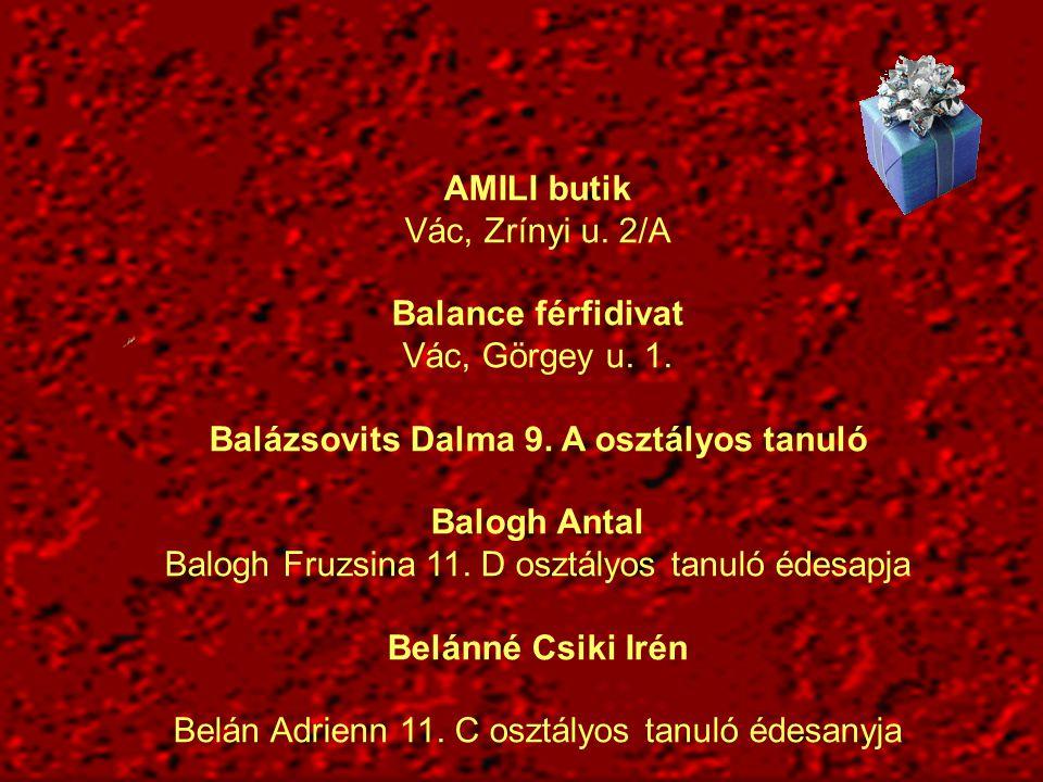 Balázsovits Dalma 9. A osztályos tanuló