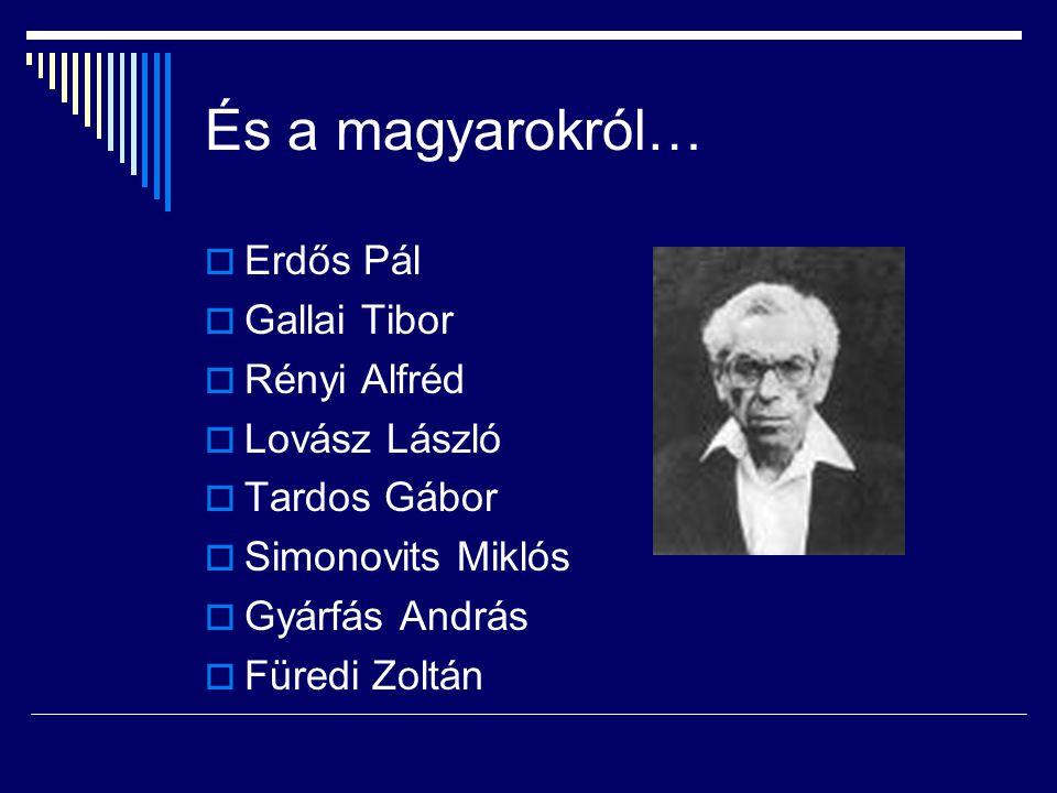 És a magyarokról… Erdős Pál Gallai Tibor Rényi Alfréd Lovász László