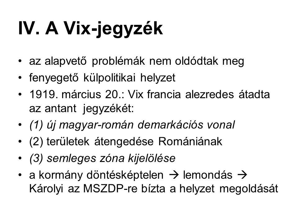 IV. A Vix-jegyzék az alapvető problémák nem oldódtak meg