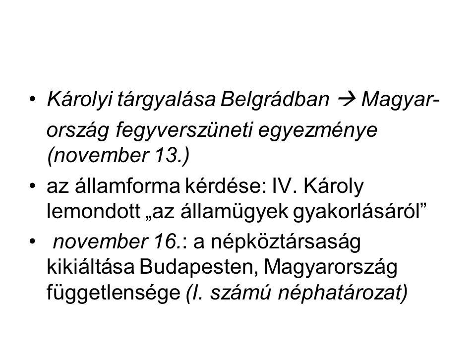 Károlyi tárgyalása Belgrádban  Magyar-