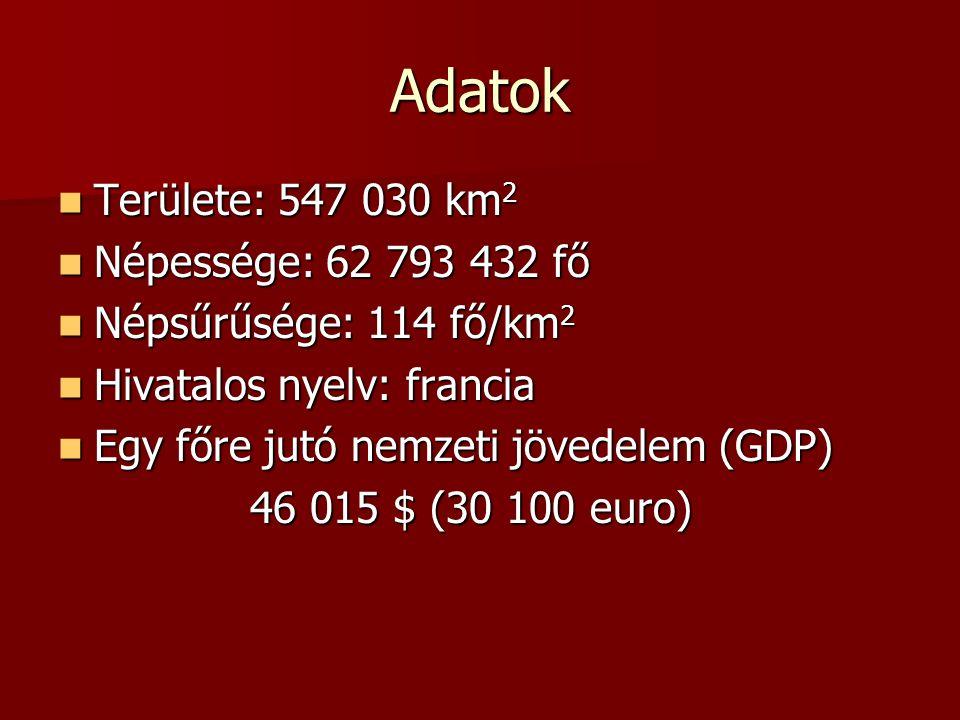 Adatok Területe: 547 030 km2 Népessége: 62 793 432 fő
