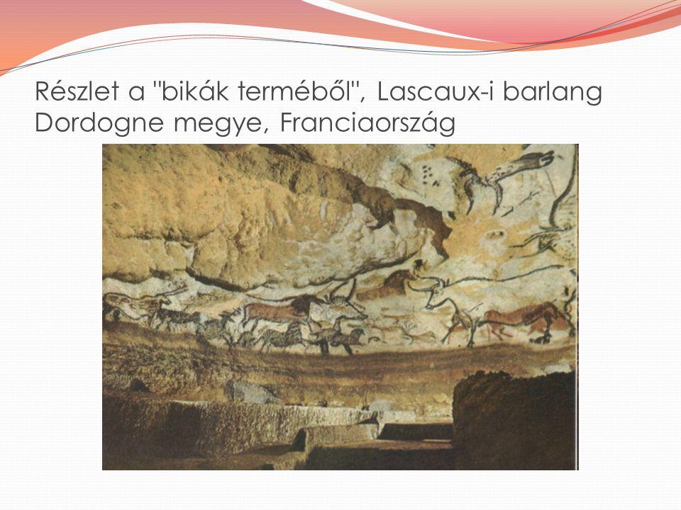 Részlet a bikák terméből , Lascaux-i barlang Dordogne megye, Franciaország