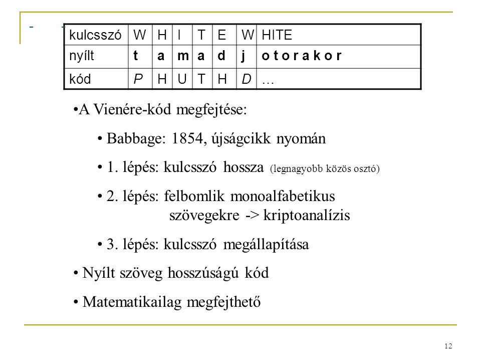 A Vienére-kód megfejtése: Babbage: 1854, újságcikk nyomán