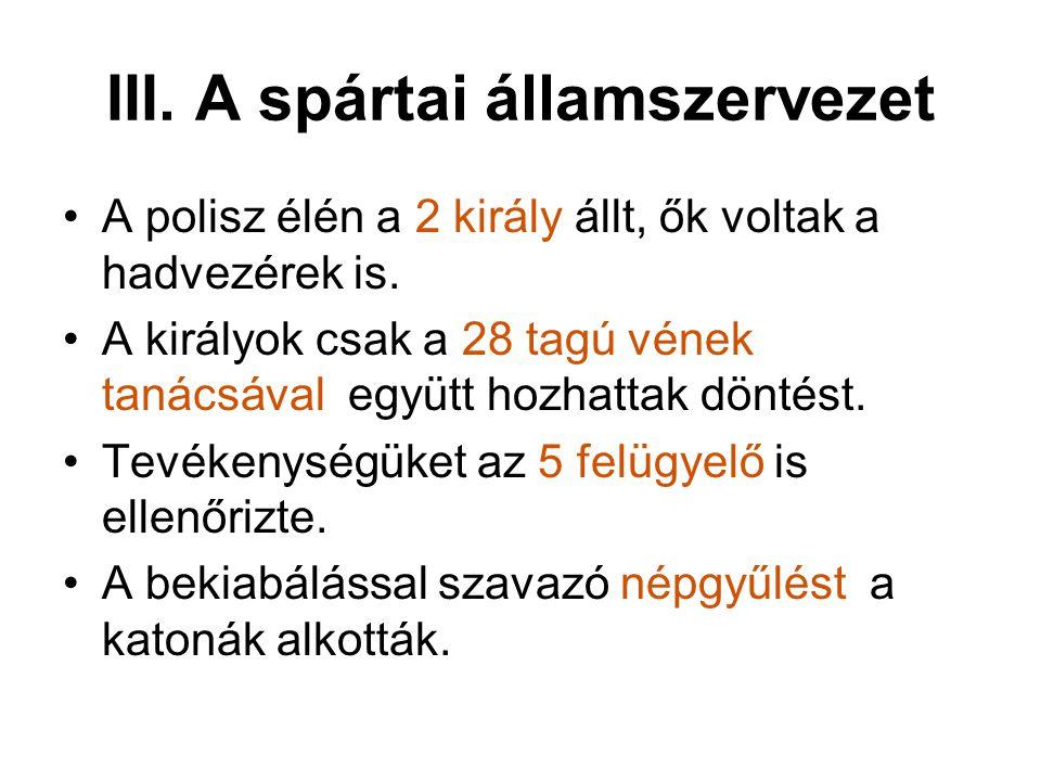 III. A spártai államszervezet