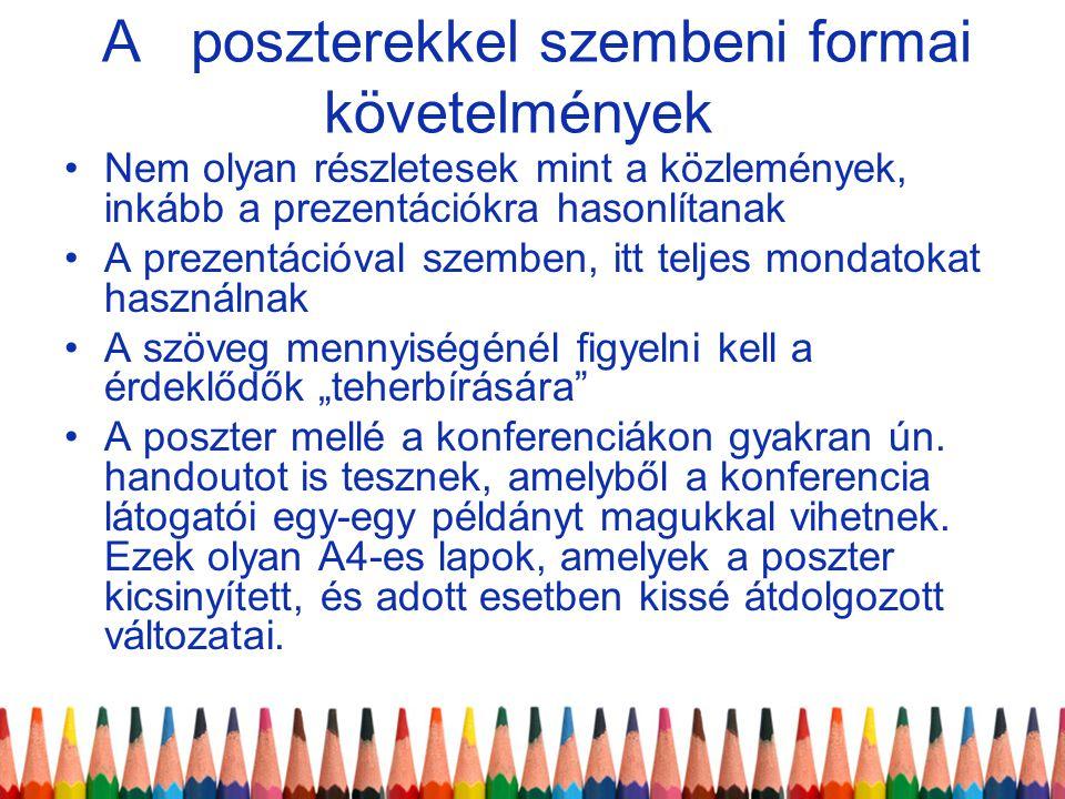 A poszterekkel szembeni formai követelmények