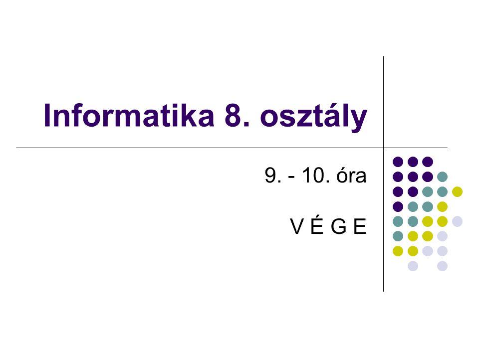 Nat Pedellus Informatika 8. osztály 9. - 10. óra V É G E