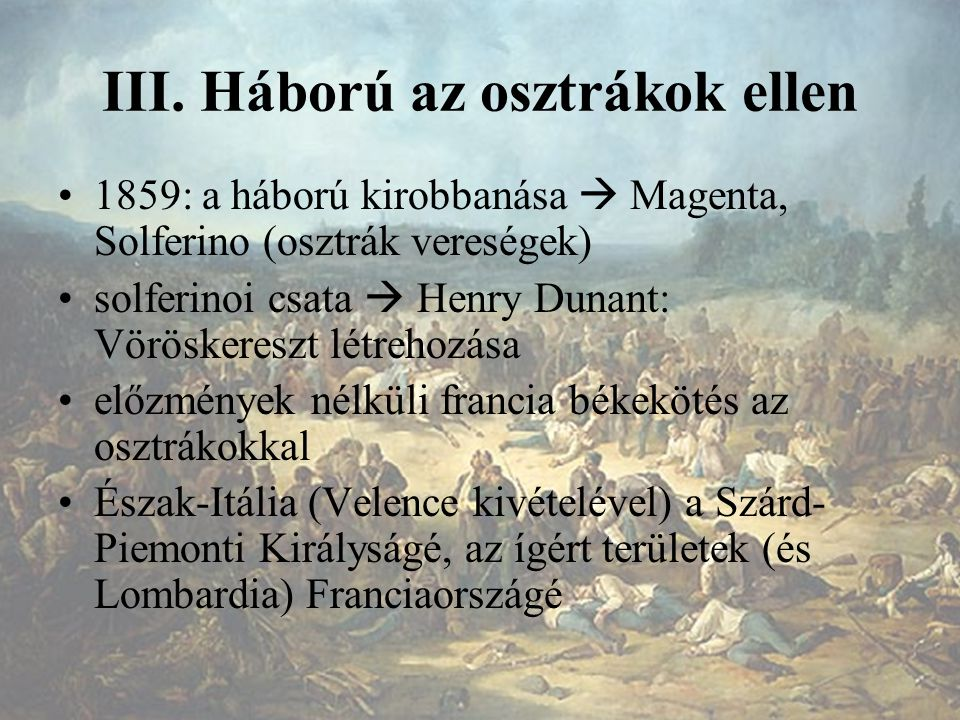 III. Háború az osztrákok ellen