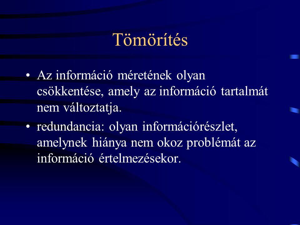Tömörítés Az információ méretének olyan csökkentése, amely az információ tartalmát nem változtatja.