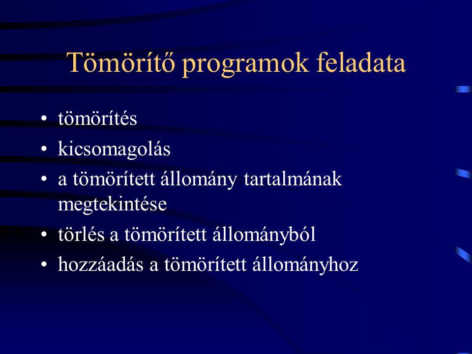 Tömörítő programok feladata