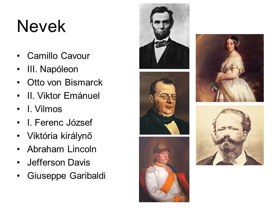 Nevek Camillo Cavour III. Napóleon Otto von Bismarck