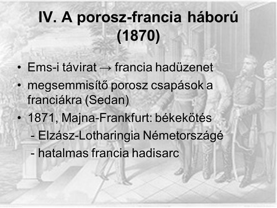 IV. A porosz-francia háború (1870)