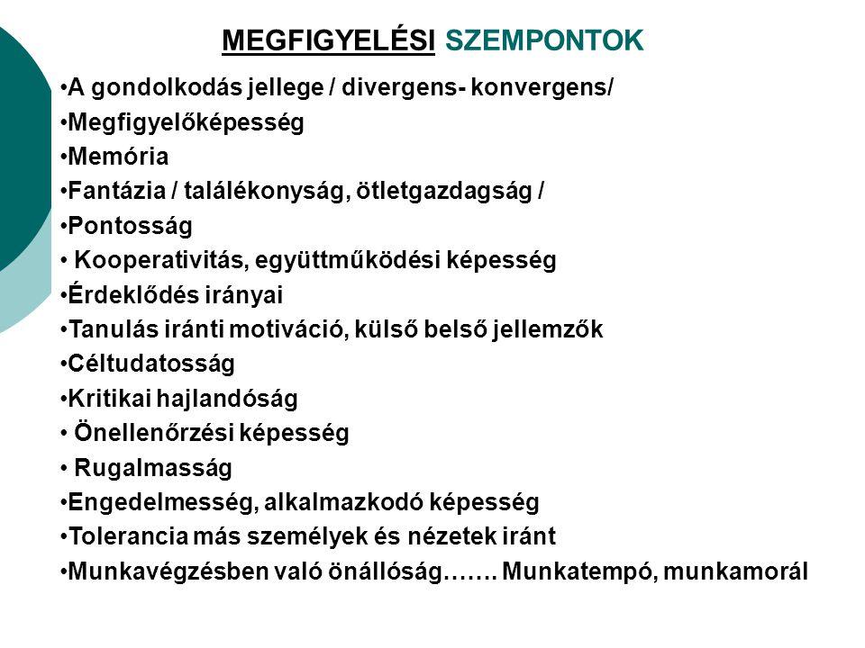 MEGFIGYELÉSI SZEMPONTOK