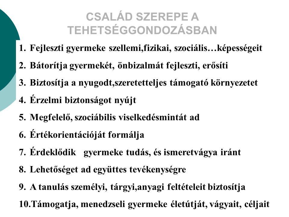 CSALÁD SZEREPE A TEHETSÉGGONDOZÁSBAN